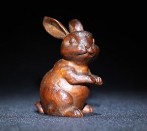 natural boxwood carving Lovely rabbit statue Japanese Netsuke decor figurine