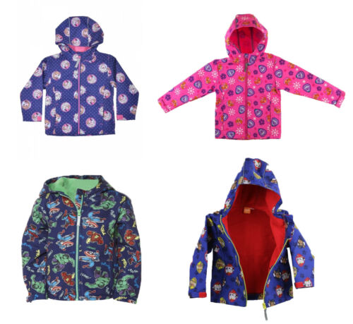 Official Kids Characters Soft Shell Full Zip Hooded Jacket Boys /& Girls Coat