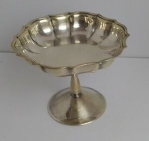 Vintage Chippendale ronde plaqué argent Footed compote Candy dish