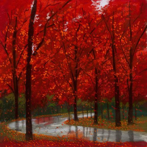 Lynn Krause  Autumn Stream Keilrahmen-Bild Leinwand Herbst Bäume Wald