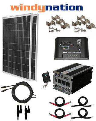 COMPLETE SOLAR PANEL KIT: 200W 2pcs 100 Watt  + 1500W Inverter 12V RV Boat