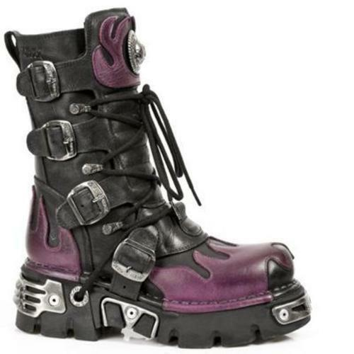 New Rock 591-S3 Purple Flame Metallic Punk Gothic Black Leather Classic Boots