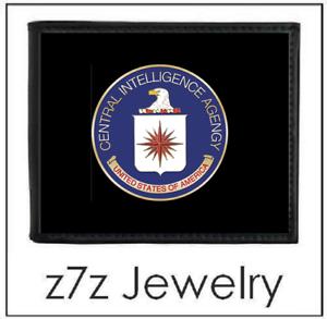 bifold black leather w// gold medallion logo coin z7qq CIA Emblem Men Wallet