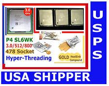 3.0 GHz Socket 478 CPU P4 GOLD HS PAK Seller Refurb 60 DAY WARRANTY  HT Pentium4