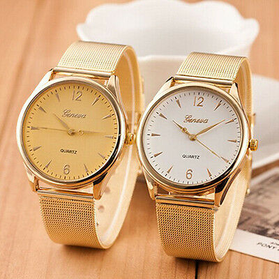 Fashion Women's Wrist Watch Analog Quartz Geneva Gold Tone Mesh Band Round Dial