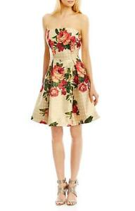 dd77deb301bd NWT Nicole Miller New York Gold Strapless Floral Print Dress 6 | eBay