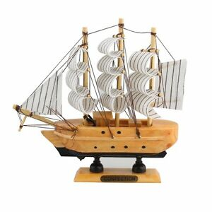 Vintage-6-034-Wooden-Sailboat-Ship-Model-Wood-Sailing-Boat-Handmade-Home-Decor-Gift