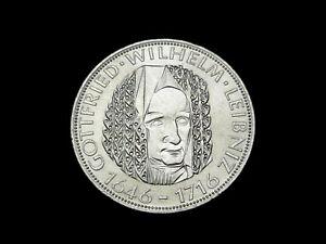 BRD. 5 DM, 1966 D, G. W. Leibniz, J.-394, Silber, orig., vz/St.!