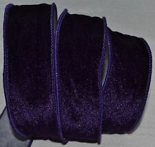 "Wired Ribbon~Christmas Dark Purple Velvet~2""~Holiday~Wreath~Gift~Craft~Bow"