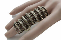 Women Vintage Gold Metal Ring Fashion Jewelry Long Finger One Size Elastic Band
