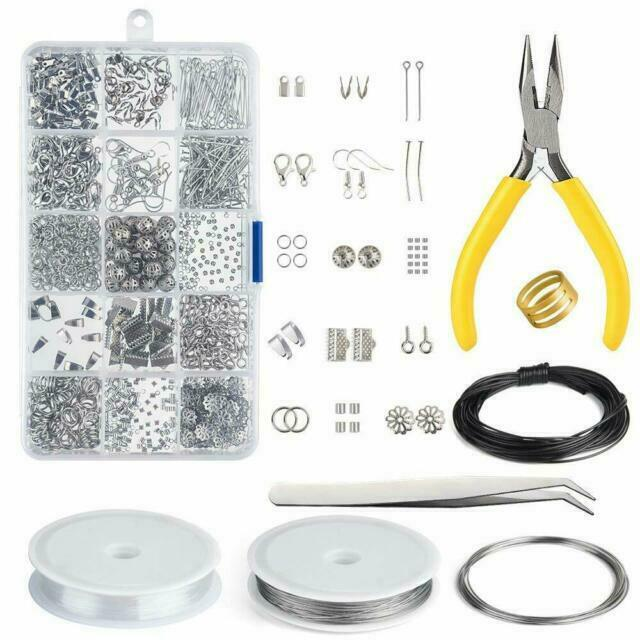 Jewelry Making Tools Set Repair Kit Findings Supplies Pliers Beading Wire Lot