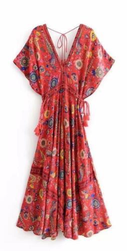 SIZE S M L New JETTA Maxi Dress Red Boho Gypsy Rayon