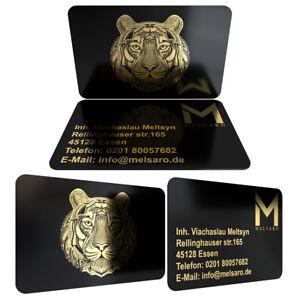 GESCHAFTSKARTEN-Visitenkarten-PVC-beidseitig-Goldfarbig-Bedruckt-0-76mm