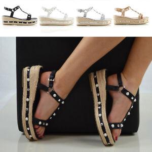 Womens-Low-Wedge-Heel-Sandals-Ladies-Espadrilles-Summer-Stud-Platform-Shoes-Size