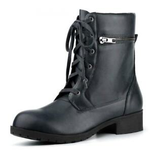 ccf2ff74371 Allegra K Women s Lace Up Riding Mid Calf Motorcycle Combat Boots