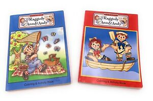 Vintage-Classic-Raggedy-Ann-and-Andy-Lot-of-2-Coloring-and-Activity-Books