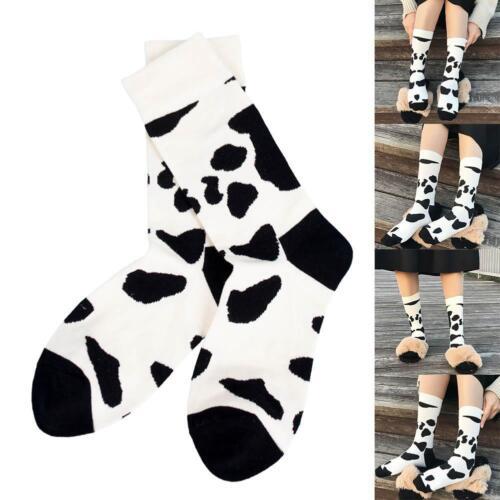 Fashion Mid Calf Socks Black and White Cow Grain Spots Stockings Baseball Socks
