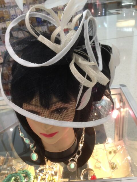 Wedding Party Carnival Races Feather  Fascinator lady Hat White+Black+ Cream