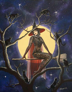 image is loading folk art halloween beautiful witch tatooes cats cats