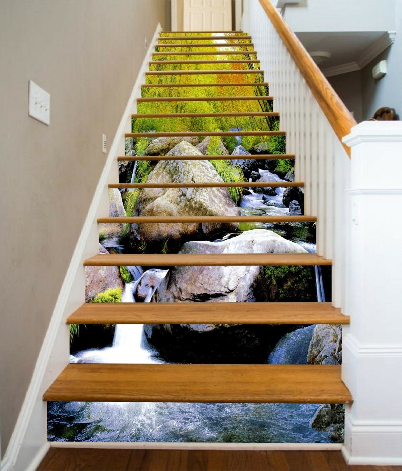 3D Stone River 18 Stair Risers Decoration Photo Mural Vinyl Decal Wallpaper CA