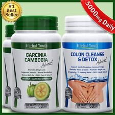 3 Bottles Pure Garcinia Cambogia HCA 95% Colon Detox Diet Weight Loss No Calcium