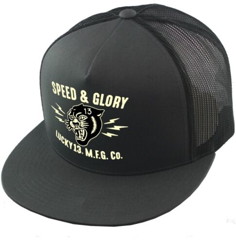 Lucky 13 Panther Head Speed Glory Charcoal Trucker Snapback Cap Hat LCSB5PA