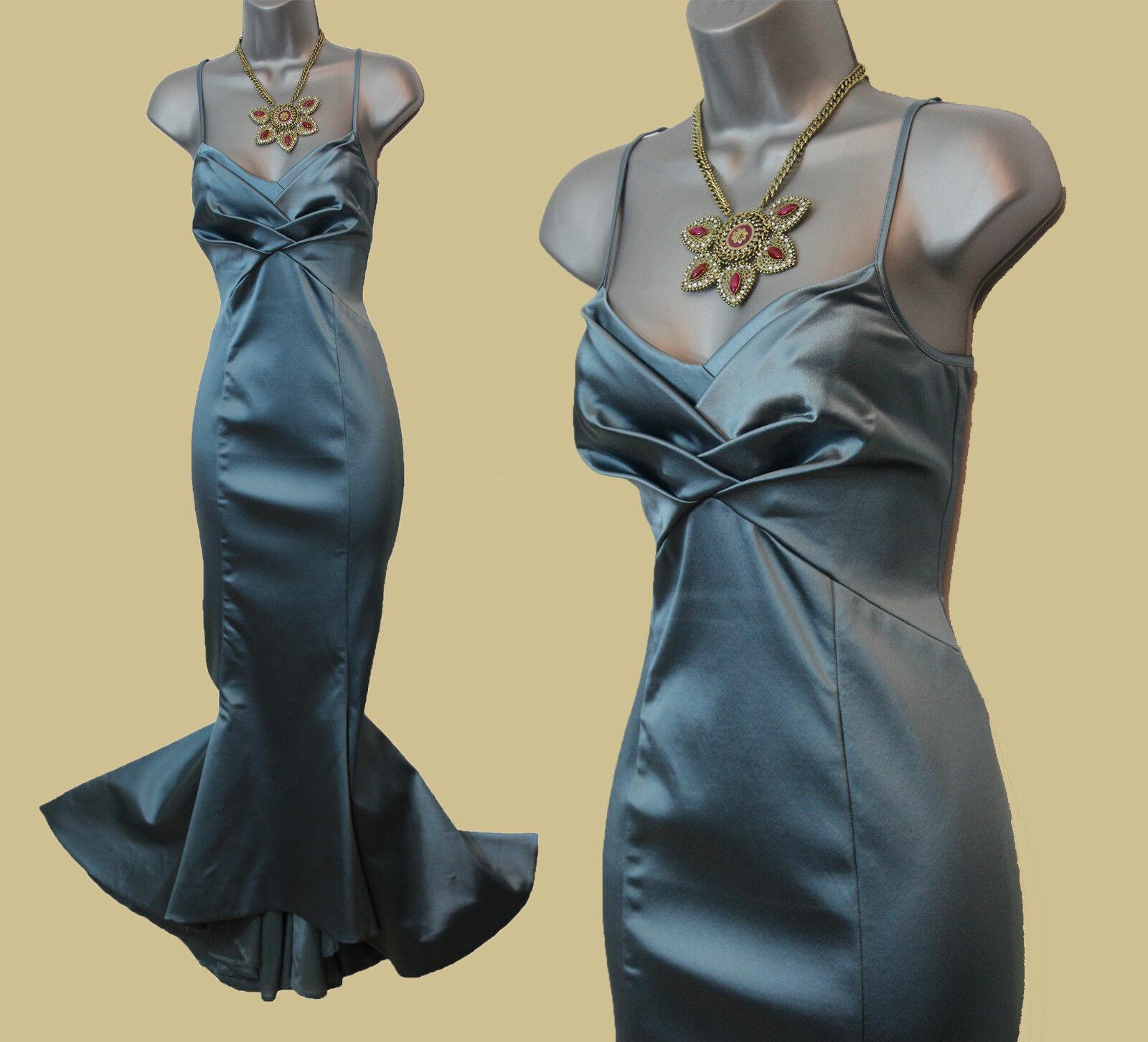 Karen Millen Light Teal Satin Spaghetti Straps Mermaid Fishtail Maxi Dress