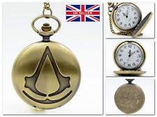 New Assassin's Creed Chain Necklackle Pocket Watch Vintage Film *UK Seller*