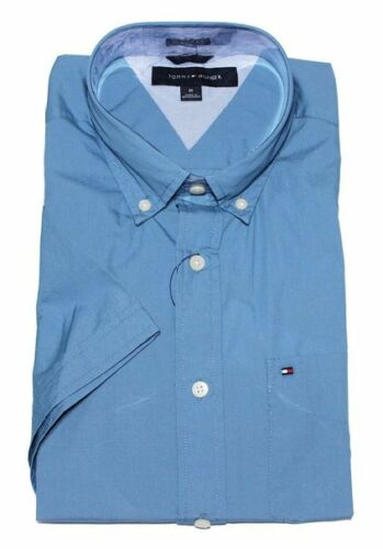 LG NWT TOMMY HILFIGER SHORT SLEEVE CLASSIC FIT BUTTON DOWN SHIRT BLUE LARGE