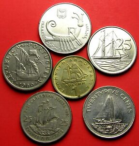 Boat Ship Coins six different Bahama, Cayman,  Israel, Greece, Portugal, British