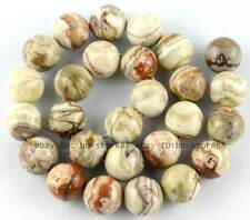"""Natural 14mm Grey White Mexico Crazy Agate Round Loose Beads 15"""" New"""