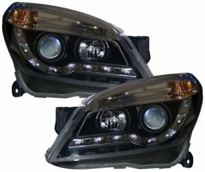 VAUXHALL ASTRA H MK5 BLACK DRL LED R8 DESIGN PROJECTOR FRONT HEADLIGHTS