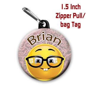 Details About Emoji Zipper Pulls Two Personalized 1 5 Inch Zipper Pull Bag Tags Nerd Emoji