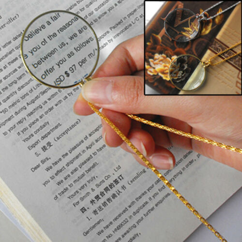 1x Coin Glass Pendant Magnifying Glass Decor Monocle Lens Necklace MagnifieUV