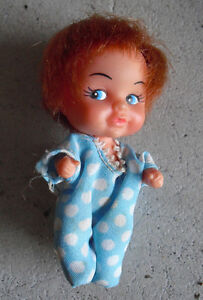 Vintage 1960s Small Little Baby Red Head Girl Doll 2 7 8