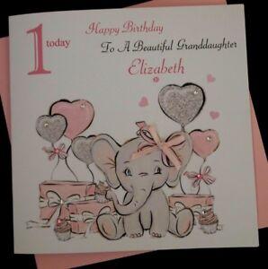 LARGE Handmade Personalised BABY GIRL 1st Birthday Card Daughter Granddaughter..