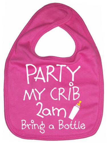 "FUNNY BABY BIB /""Party My COC 2am apporte A Bottle/"" boy girl l/'alimentation Dribble"