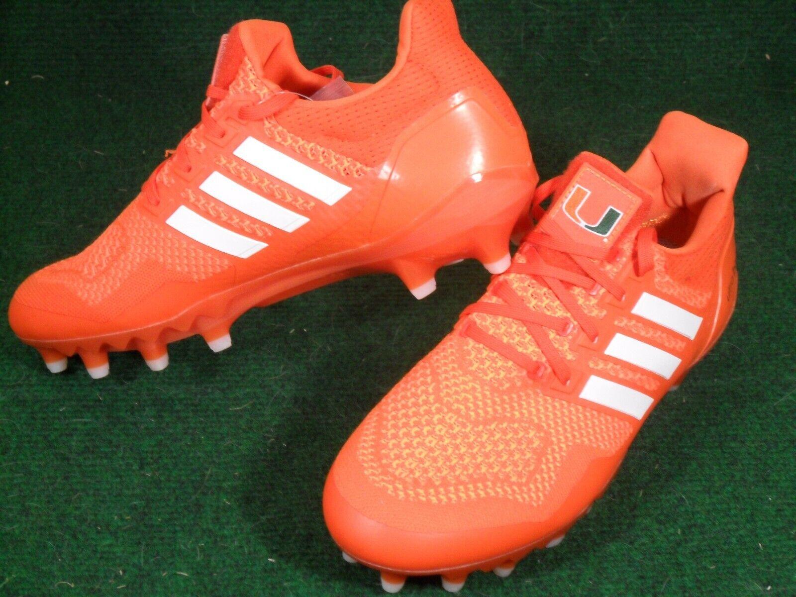 New Adidas Ultraboost Miami Hurricanes Team Issue PE Football Cleats Orange 10