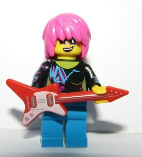 LEGO Female Girl  Minifigure Rock Pop Star Pink Punk Hair  /& Guitar