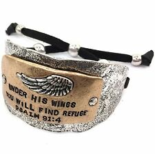 WESTERN HAMMERED BIBLE VERSE WINGS PSALM 91:4 LEATHER CUFF PRAYER BRACELET