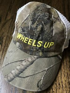 NEW-WHEELS-UP-Camo-Green-White-Trucker-8760-Embroidered-Logo-Adjustable-Hat-RARE