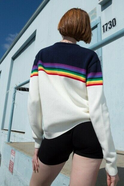 brandy melville cream crewneck cable knit cotton bronx rainbow sweater NWT sz S