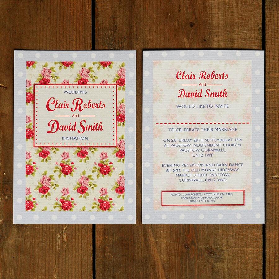 Floral toile cirée mariage invitation-jour soirée rsvp save the date cath cath date kidston e64ce1