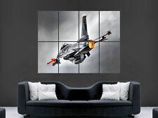 F16 MILITARY FIGHTER JET AEROPLANE  GIANT WALL POSTER ART PICTURE PRINT LARGE
