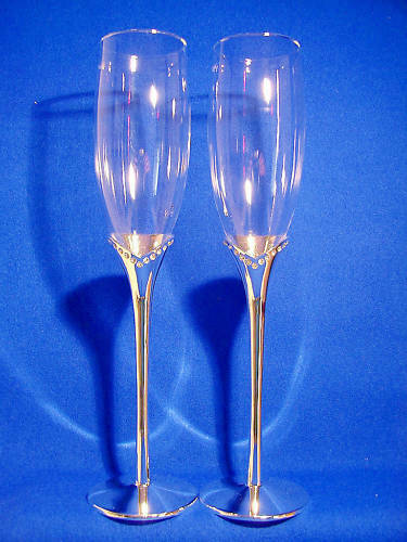 Bridal   Wedding Champagne Flutes with CRYSTALs around the Stem.