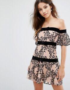For-Love-And-Lemons-Dress-M-Clemence-Off-The-Shoulder-Tiramisu-Paisley-Women-s