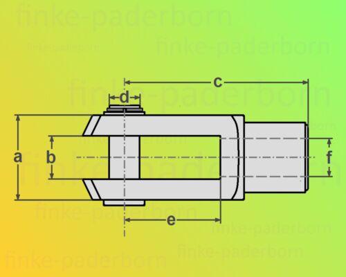 10x Gabelkopf 8x32 M8 inkl Splintbolzen DIN71751 verzinkt Gabelgelenk Gabelköpfe