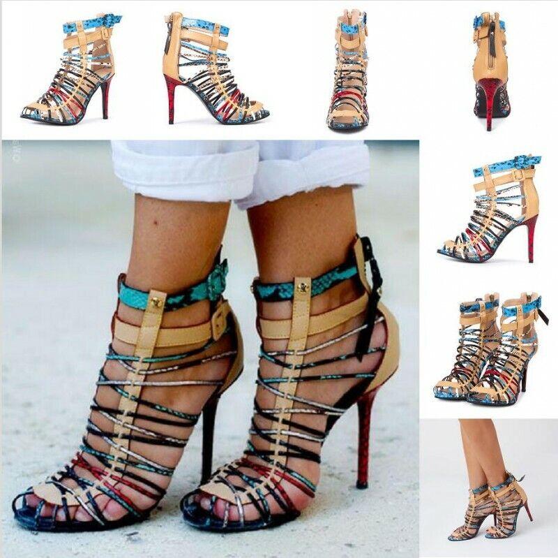 Femmes Gladiateur Bout Ouvert Chaussures Talon Aiguille Talons Hauts Sandales Soirée PLUS TAILLE 34-47