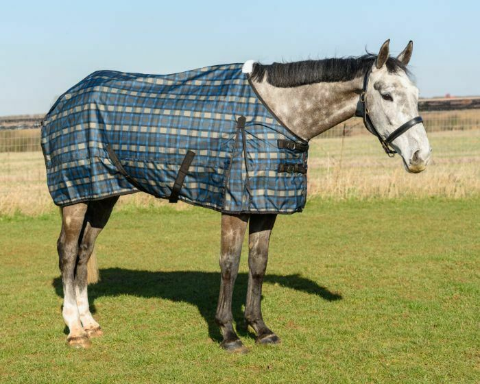Turnout Horse Rug 600D Checked Lightweight Rug No Fill Standard Neck