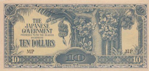 B207 P-M7 UNC Malaya banknote JIM Japan invasion WW2 10 dollars 1944